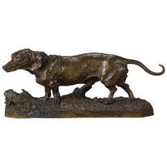Animalier Bronze Study Entitled 'Chien Basset À Jambes Torses' by P J Mêne