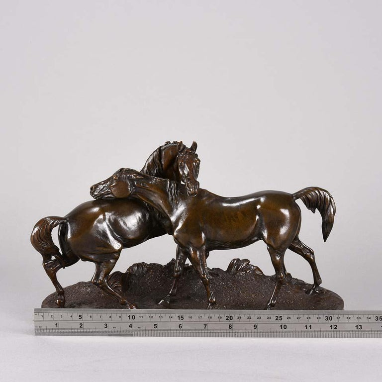 Animalier Bronze Study Entitled 'L'Accolade' by Pierre Jules Mêne For Sale 3