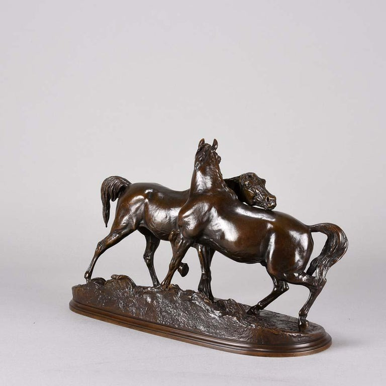 French Animalier Bronze Study Entitled 'L'Accolade' by Pierre Jules Mêne For Sale