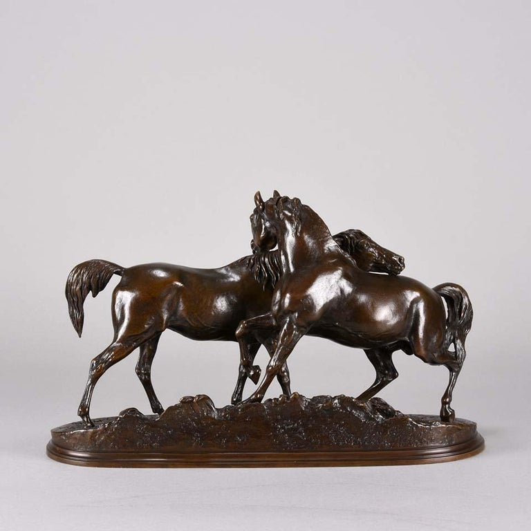 Cast Animalier Bronze Study Entitled 'L'Accolade' by Pierre Jules Mêne For Sale