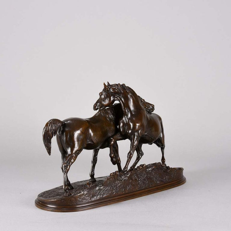 Animalier Bronze Study Entitled 'L'Accolade' by Pierre Jules Mêne In Excellent Condition For Sale In London, GB