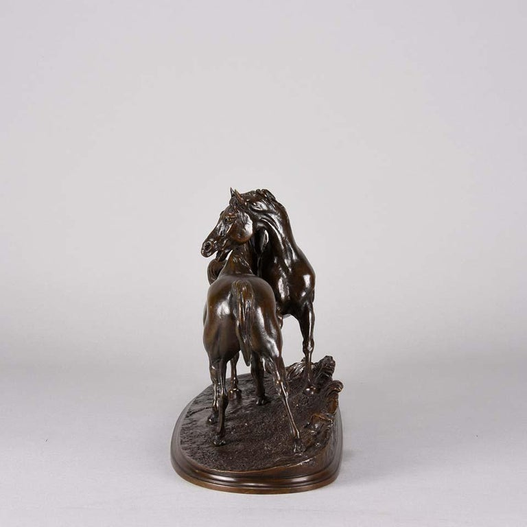 Mid-19th Century Animalier Bronze Study Entitled 'L'Accolade' by Pierre Jules Mêne For Sale