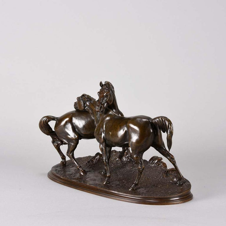 Animalier Bronze Study Entitled 'L'Accolade' by Pierre Jules Mêne For Sale 1