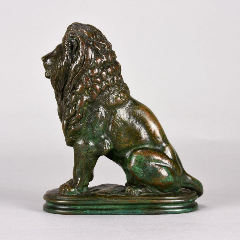 Cast Animalier Bronze Study Entitled 'Lion Assis No 3' by Antoine L Barye For Sale