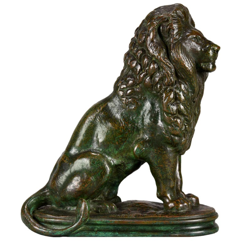 Animalier Bronze Study Entitled 'Lion Assis No 3' by Antoine L Barye For Sale