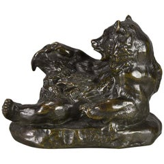 Animalier Bronze Study entitled 'Ours Assis No.2' by Antoine L Barye