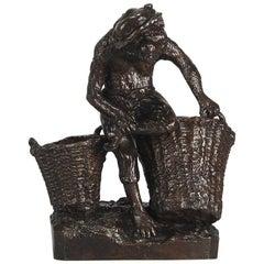 "Animalier Bronze Study Entitled ""Singe Avec Des Paniers"" by Christophe Fratin"