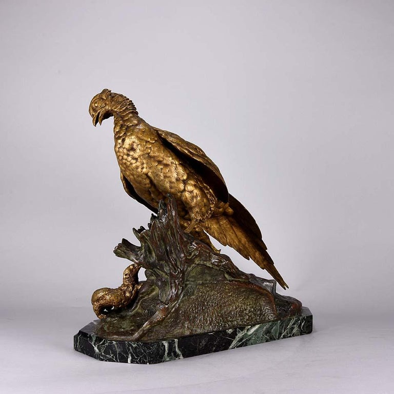 Other Animalier French Bronze 'Pheasant & Weasel' by Jules Moigniez For Sale