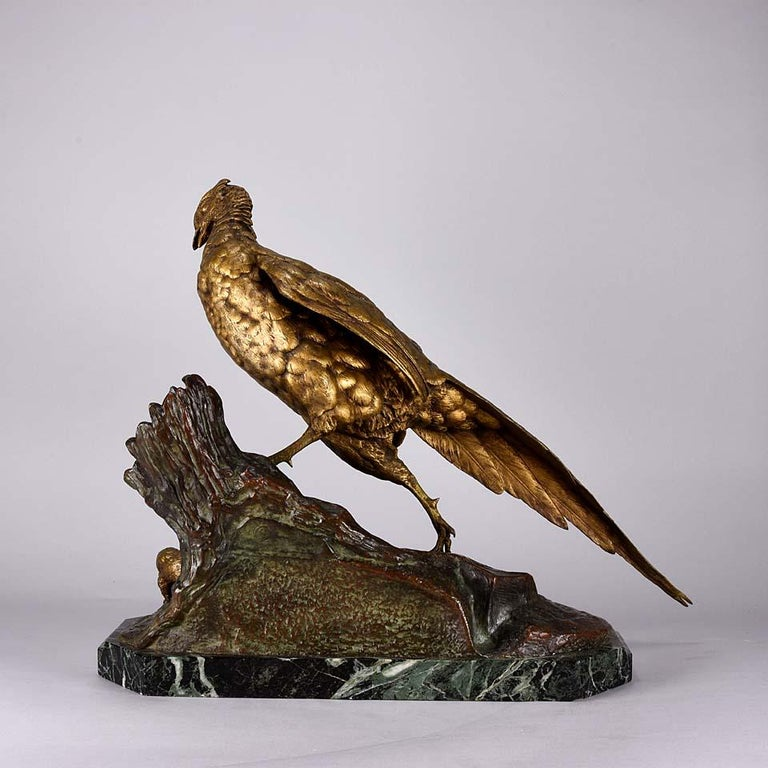 Cast Animalier French Bronze 'Pheasant & Weasel' by Jules Moigniez For Sale