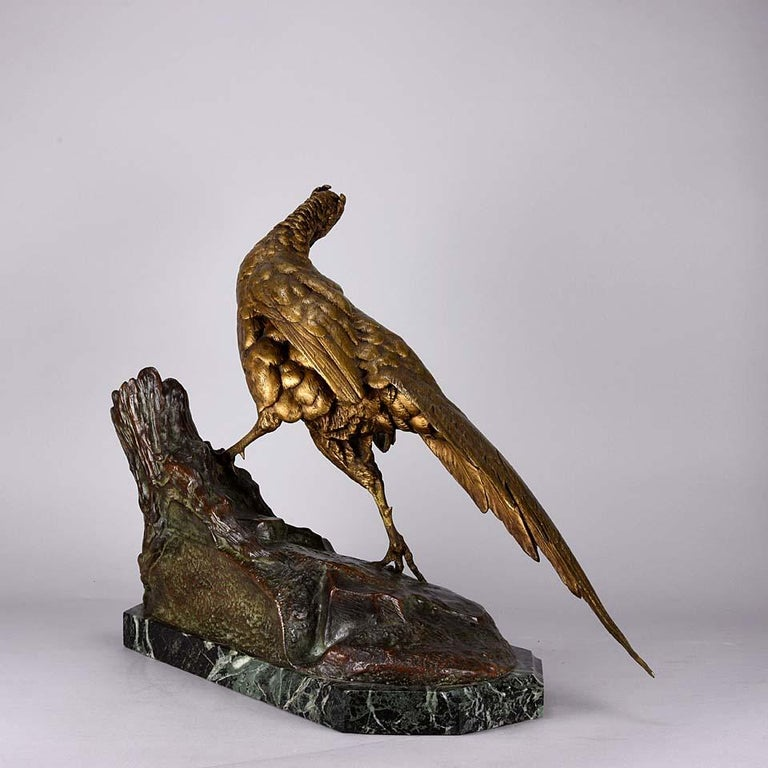 Animalier French Bronze 'Pheasant & Weasel' by Jules Moigniez In Excellent Condition For Sale In London, GB