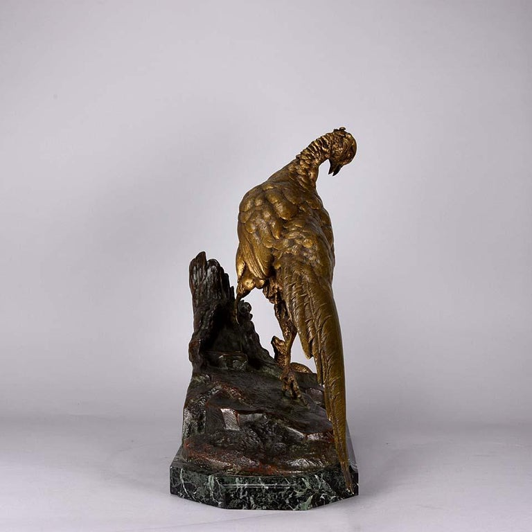 Late 19th Century Animalier French Bronze 'Pheasant & Weasel' by Jules Moigniez For Sale