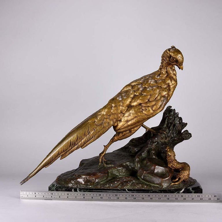 Animalier French Bronze 'Pheasant & Weasel' by Jules Moigniez For Sale 3