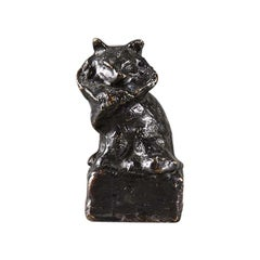 Animalier French Cast Bronze Study of a Seated Cat by Théophile Steinlen