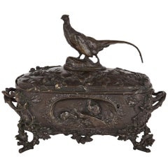 Animalier Patinated Bronze Casket by Auguste-Nicolas Cain