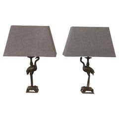Animalier Small Bronze Herons Shaped Table Lamps