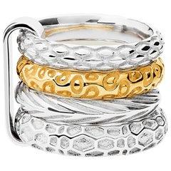 Silver & Gold Vermeil Animals Churumbela Ring, sizes, 55, 60, 65