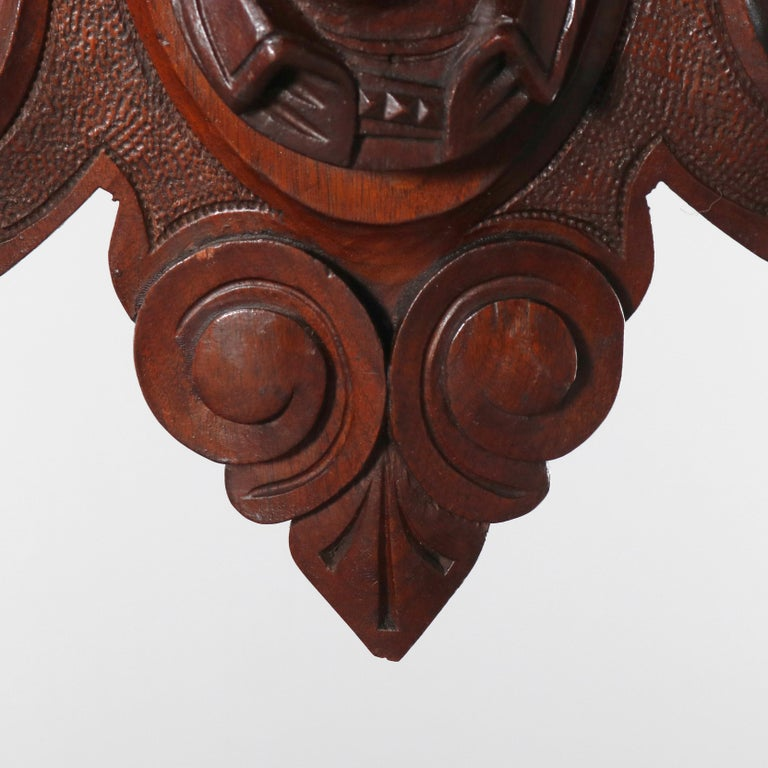 French Antique Jelliffe School Hand Carved Male Portrait Architectural Pediment For Sale