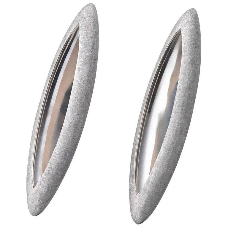 Contemporary Anish Kapoor 18 Karat White Gold Torpedo Earrings, Large, 2010 For Sale