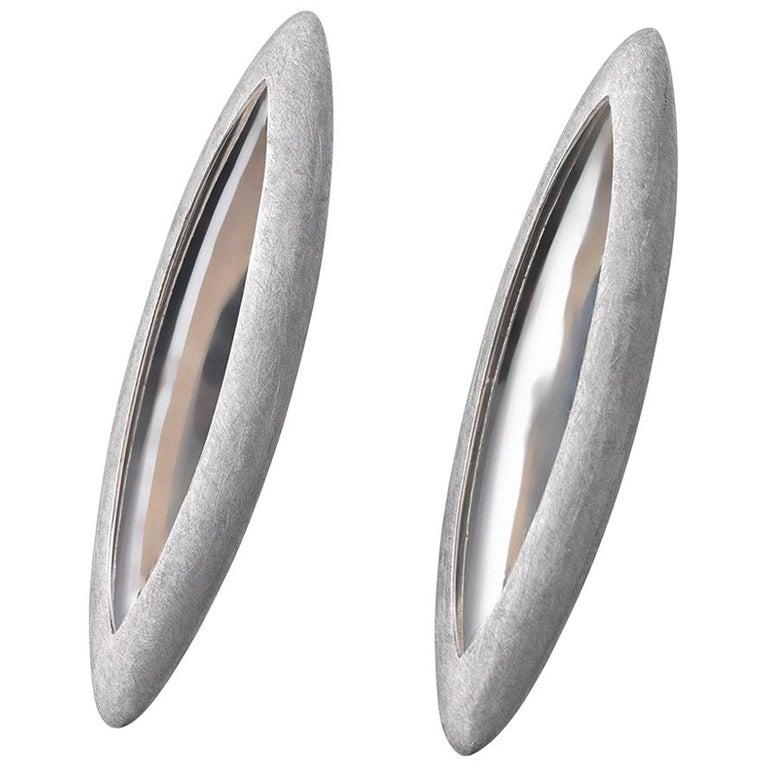Anish Kapoor 18 Karat White Gold Torpedo Earrings, Large, 2010 For Sale