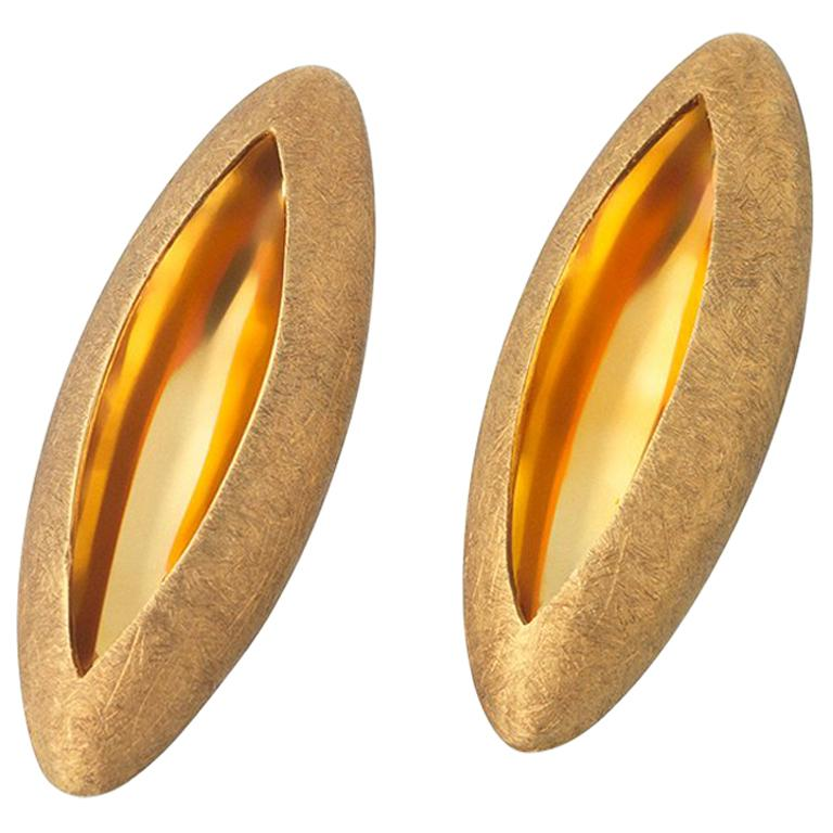Anish Kapoor 18 Karat Yellow Gold Torpedo Earrings, Small, 2010 For Sale