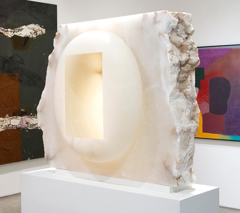 A sculpture by Anish Kapoor. This is an Untitled, abstract sculpture executed in alabaster by contemporary artist Anish Kapoor. Anish Kapoor's imposing sculpture Untitled is a beautiful coalescence of forms in which fine, polished surfaces are