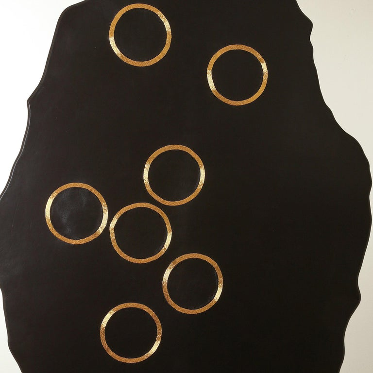 Chance of Seven - leather and gold wall mounted panel by Anita Carnell For Sale 2