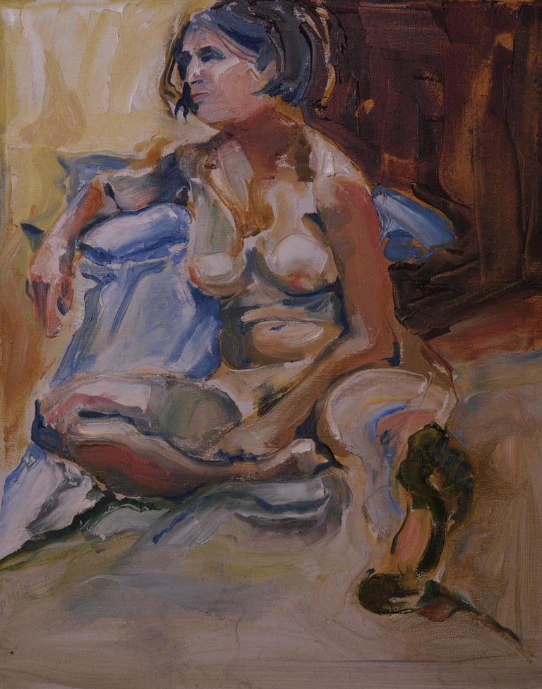 A woman sits for now, but looks away, ready to leave. :: Painting :: Impressionist :: This piece comes with an official certificate of authenticity signed by the artist :: Ready to Hang: No :: Signed: No ::  :: Canvas :: Portrait :: Original ::