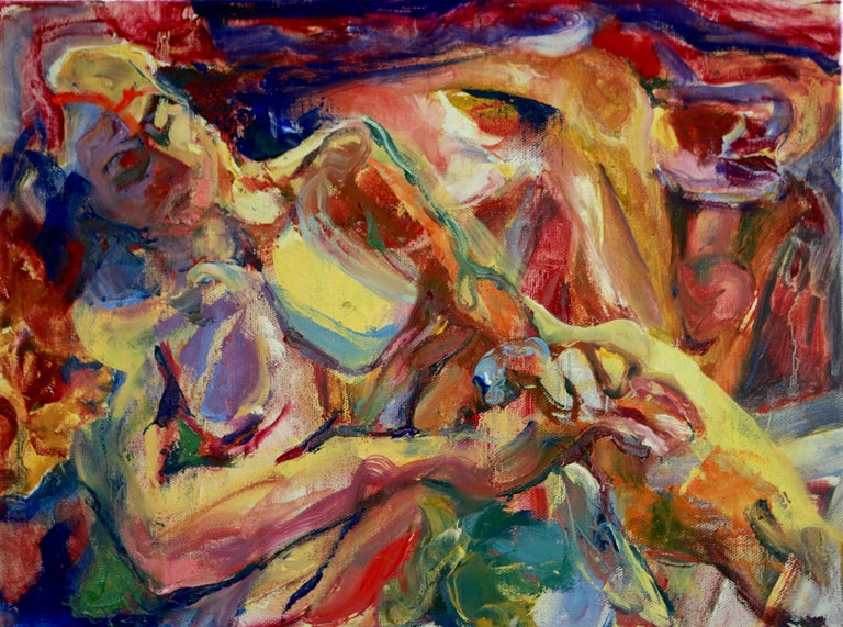 Colors and gestural brushwork define a reclining nude woman and a beast-like figure behind her. :: Painting :: Modern :: This piece comes with an official certificate of authenticity signed by the artist :: Ready to Hang: Yes :: Signed: Yes ::
