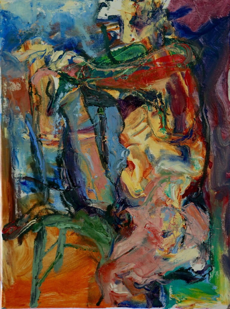 Colors and gestural brushwork define a thin, seated figure, one leg up, mouth covered, hands resting on her knee.   :: Painting :: Contemporary :: This piece comes with an official certificate of authenticity signed by the artist :: Ready to Hang: