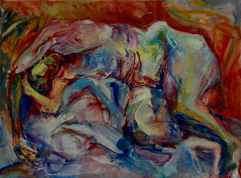 Bright colors and gestural paint-strokes exaggerate the shape of a nude woman hanging over bunches of pillows  :: Painting :: Impressionist :: This piece comes with an official certificate of authenticity signed by the artist :: Ready to Hang: Yes