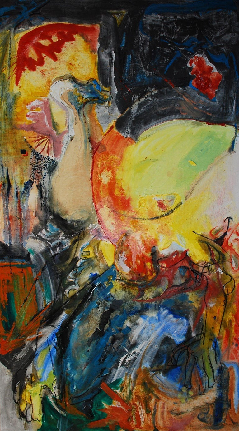 Anita Clearfield Abstract Painting - Lizardman Rides the Desert Dolphin Rain or Shine, Painting, Oil on Canvas