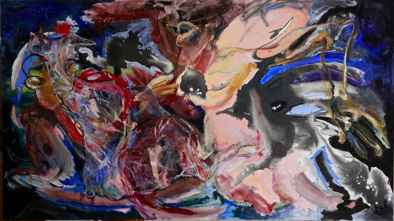 Anita Clearfield Abstract Painting - Nightbird Bags all Flesh in Wide Screen, Painting, Oil on Canvas