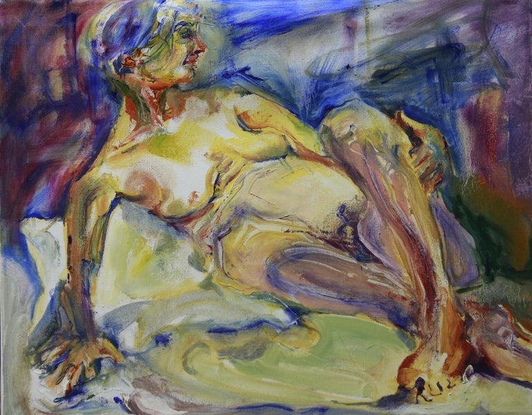 Bright colors and exaggerated gesture create the form of this nude woman lounging, at home in her body.  :: Painting :: Impressionist :: This piece comes with an official certificate of authenticity signed by the artist :: Ready to Hang: Yes ::