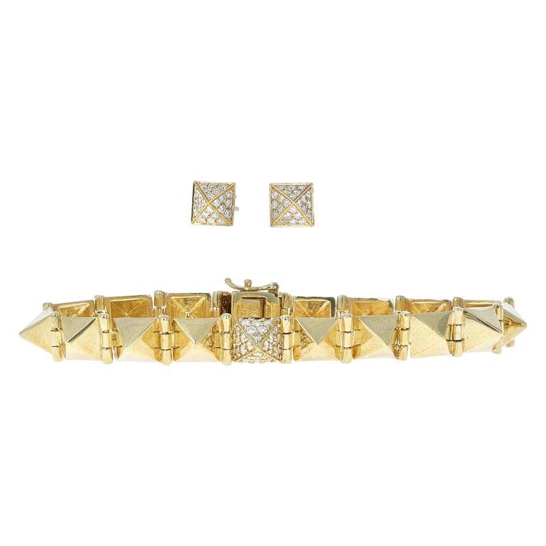 Anita Ko Gold and Diamond Spike Bracelet Set For Sale