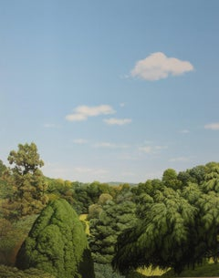 DEEP CUT PARK, vivid green forest, hyper-realism, trees, blue skies, clouds