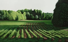The Farm on Tennent Road, Contemporary Landscape Painting, New Jersey, Green