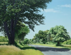 The Top of the Hill, Contemporary Landscape Painting, Country Road, Trees, Green