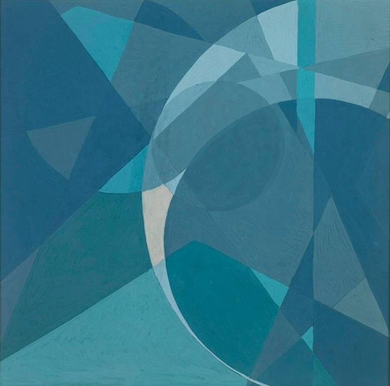 Untitled Abstract Composition, blue themed abstract geometric tempera work