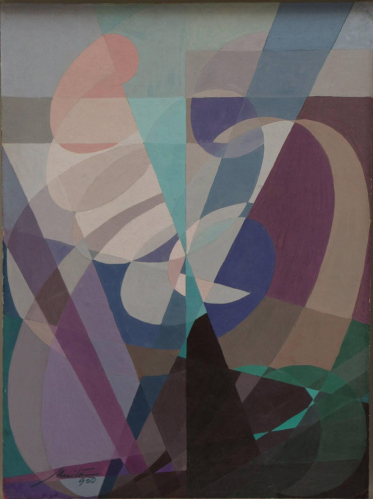 Untitled Abstract Composition, abstract geometric colorful oil and tempera