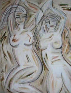 """Figurative Painting, Nude,Oil Canvas,Green,Brown, White,Black colors """"In Stock"""""""