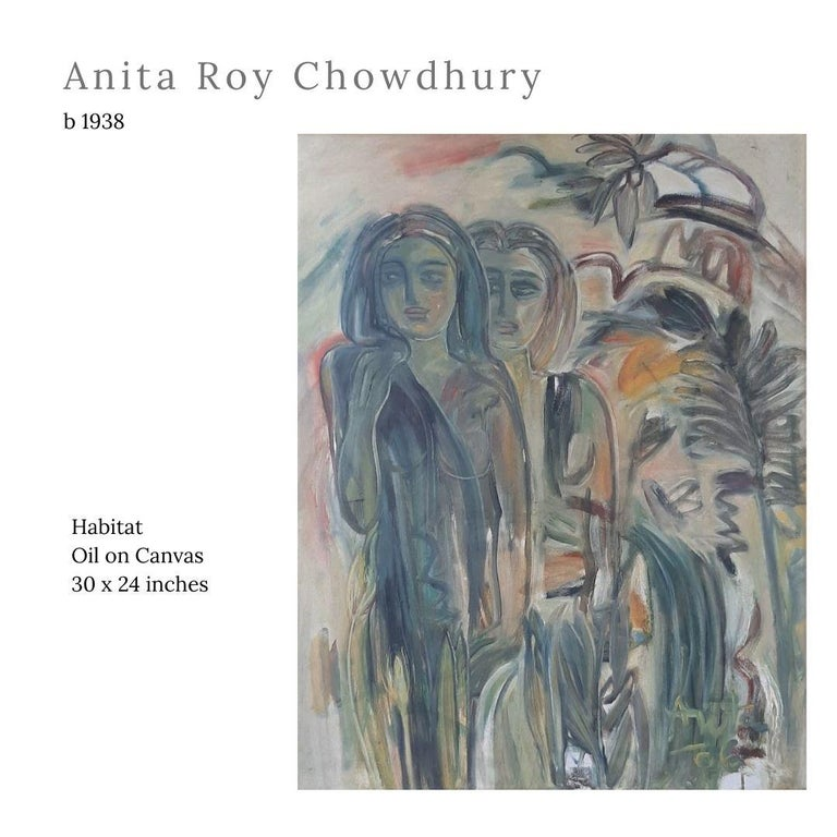 "Anita Roy Chowdhury Figurative Painting - Habitat, Oil on Canvas by Indian Modern Artist ""In Stock"""