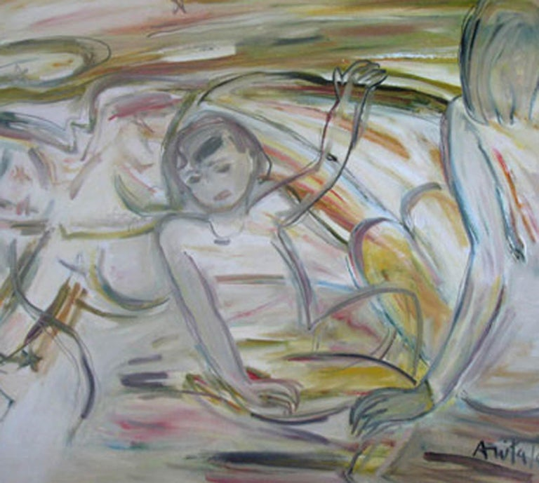Anita Roy Chowdhury - Mother & Child - 36 x 48 inches ( unframed size) Oil on canvas Inclusive of shipped in roll form.  Style : Her works manifest human figures, nude or draped in different poses and postures, plant and animal forms, elements of