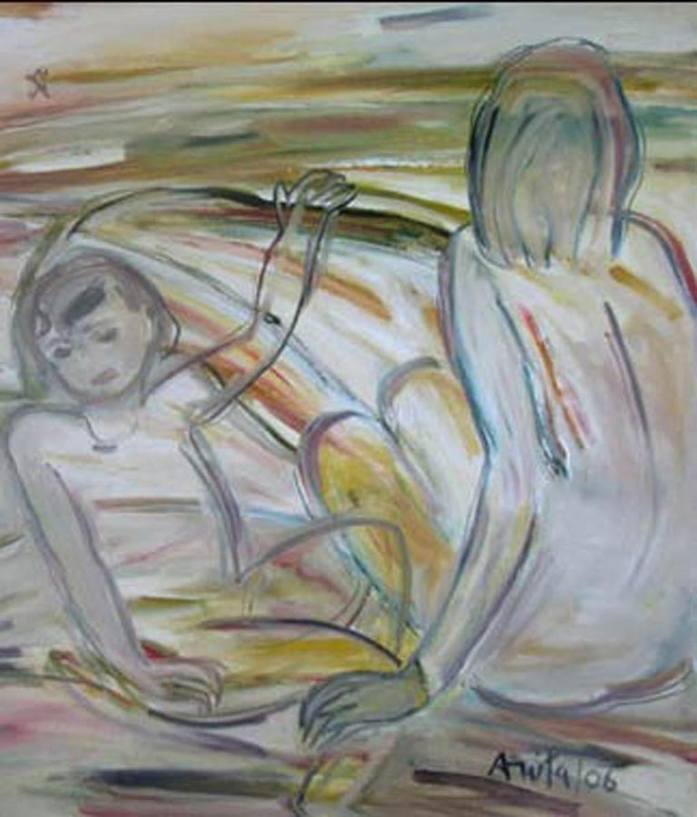 Mother & Child, Nude Oil paint, Earth Colours by Indian Modern Artist