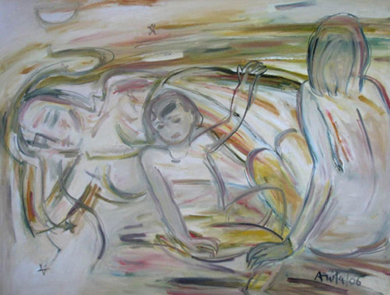 """Anita Roy Chowdhury Figurative Painting - Mother & Child, Nude Oil paint, Earth Colours by Indian Modern Artist """"In Stock"""""""