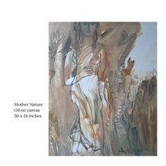 "Mother Nature, Oil on Canvas by Indian Modern Artist ""In Stock"""