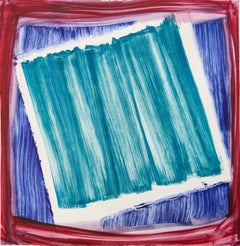 """Effigy 18"", painterly abstract monoprint, violet, red, blue, turquoise."