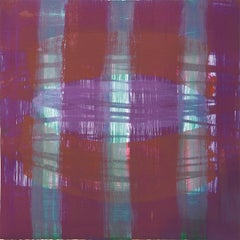 """Effigy Six"", painterly abstract monoprint, violet, magenta, turquoise, red."