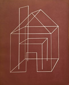 Open House One , architectural aquatint print, venetian red, gold, gold detail.