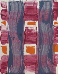"""""""Piscamento #2""""painterly abstract monoprint, magenta, grey, and orange."""