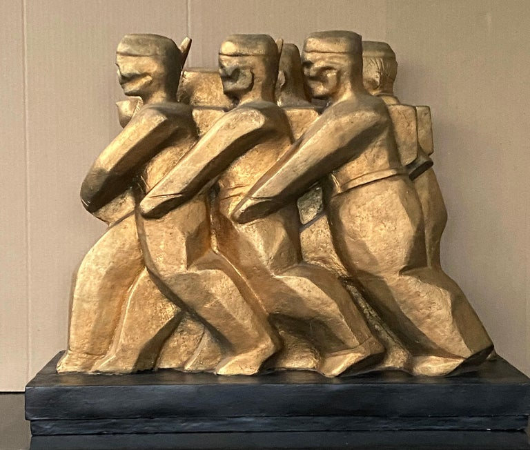 American Scene Modern Sculpture WPA Military Mid-Century Modernism Female Artist  Anita Weschler (1903-2000) was a sculptor, painter, designer poet, and author, was a native of New York City. She studied at Parsons School of Design, the Art Students